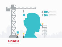 Infographic business head shape template design.building to success concept vector illustration / graphic or web design layout. Infographic Template with crane stock illustration