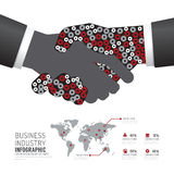 Infographic business industry gear handshake shape template desi Royalty Free Stock Photography