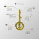 Infographic. Business key concept template. Gold vector Stock Image