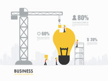 Infographic business light bulb shape template design. Workers construct light bulb building. Infographic Template stock illustration