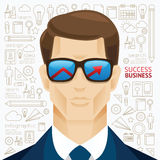 Infographic business man face arrow shape on sungrass template d. Esign. people success concept vector illustration / graphic or web design layout Stock Image