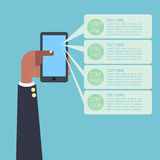 Infographic business man hand on smartphone Royalty Free Stock Photo