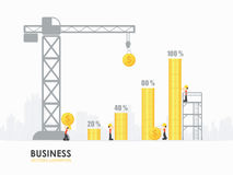 Infographic business money graph template design. Workers construct money bar chart vector illustration