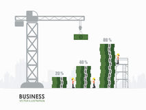 Infographic business money graph template design. Workers construct money graph building Stock Image