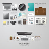Infographic business office tools flat lay idea. Stock Images