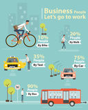 Infographic business people let's go to work character. Cartoon business people character go to work  for infographic concept Stock Photography