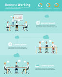 Infographic business people team working cloud set Royalty Free Stock Photo
