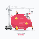 Infographic business piggy bank shape template design.building Stock Images