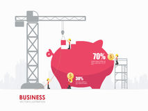 Infographic business piggy bank shape template design. Infographic Template with crane and piggy bank building royalty free illustration