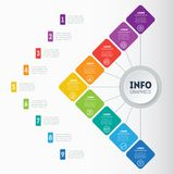 Infographic or Business presentation with 9 options. Vector dyna. Mic infographics or mind map of technology or education process with 9 steps. Web Template of a Stock Photo