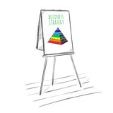 Infographic Business Presentation Sketch Template. With colored pyramid on flipchart on white background  vector illustration Royalty Free Stock Images