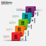 Infographic business stair success of marketing vector design template. Can be used for workflow processes, startup, banner, diagram, number options, work plan Stock Photo