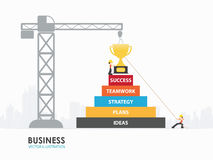 Infographic business step to success template design. Infographic Template with crane and stair to success building that there is trophy on the top royalty free illustration