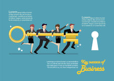 Infographic of business team holding golden key to unlock the lo Stock Images