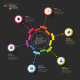 Infographic business template. Colorful circle with icons. Vector Stock Photo