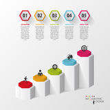 Infographic business template. Hexagons in 3d. Vector Royalty Free Stock Image