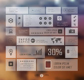 Infographic business template vector illustration. Infographic business template on blur landscape background. Transparent and shadows icon and elements for web Royalty Free Stock Image