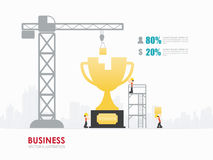 Infographic business trophies shape template design. Infographic Template with crane and trophy building. Vector Illustration stock illustration