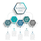 Infographic for business. Vector illustration infographic template with 3D hexagons paper label, business template for presentation. Creative concept for royalty free illustration