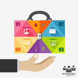 Infographic businessman hand hold business bag stock illustration