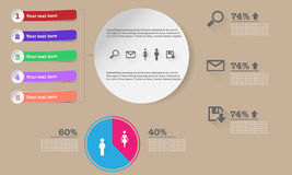 Infographic with buttons, ribbons, graphs and banners Stock Photos