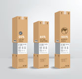Стиль дизайна бумажной коробки доставки продукта шаблона Infographic/c Стоковые Изображения RF