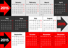 Infographic calendar 2015 with arrows. And quarter color coding stock illustration