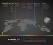 Infographic : Carte foncée du monde avec des marques d'indicateur Photographie stock