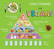 Infographic chart, illustration of a food pyramid for vegetarian nutrition. Shows healthy food balance for successful growth, educ Stock Photos