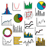 Infographic charts or graphs icons. Charts or graphs icons for business or infographic themes design Stock Image