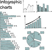 Infographic_ charts. Infographics Set - Hand Drawn Style Illustration Stock Image