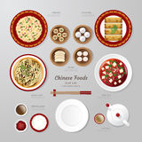Infographic China foods business flat lay idea. Vector illustrat Stock Images