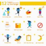 Infographic 12 choses que vous pouvez faire pour vivre plus longtemps illustration stock