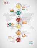 Infographic chronologievector De kaart van de wereld Royalty-vrije Stock Fotografie