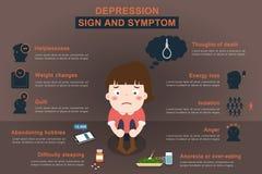 Infographic circa la donna di depressione con il segno e lo symp Immagini Stock Libere da Diritti