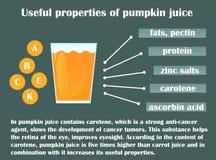 Infographic circa le proprietà utili del succo della zucca Fotografia Stock Libera da Diritti