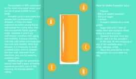 Infographic circa le proprietà utili del succo della zucca e un metodo di preparazione del succo Immagini Stock Libere da Diritti
