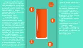 Infographic circa le proprietà utili del succo di pomodoro e un metodo di preparazione del succo Immagini Stock