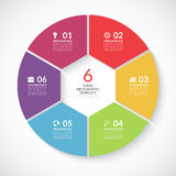 Infographic circle banner. Vector template with 6 steps, parts, options Royalty Free Stock Images