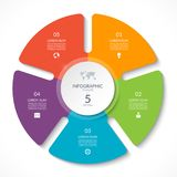 Infographic circle chart. Vector cycle diagram with 5 options. Can be used for graph, presentation, report, step options, web design Royalty Free Stock Photo