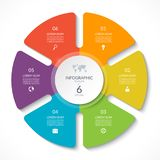 Infographic circle chart. Vector cycle diagram with 6 options. Can be used for graph, presentation, report, step options, web design Stock Photos