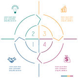 Infographic circle colourful lines four positions Royalty Free Stock Photo