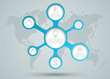 Infographic Circle Diagram Icons With Dots World Map Back Drop. Infographic 7 circles blue  to cyan gradient diagram with outlined business icons with a Royalty Free Stock Images