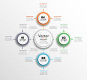 Infographic circle diagram. Vector banner with 4 steps, parts, options. Template for business infographics. Can be used for cycle diagram, round chart Royalty Free Stock Photos