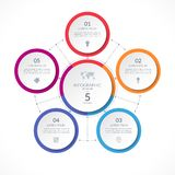 Infographic circle with 5 options. stock illustration