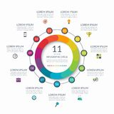 Infographic circle. 11 options, steps, parts. Business concept for diagram, graph, chart. Vector template. Infographic circle. 11 options, steps, parts. Business Stock Image