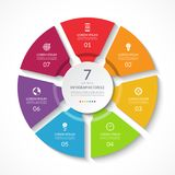 Infographic circle. Process chart. Vector diagram with 7 options. Can be used for graph, presentation, report, step options, web design Royalty Free Stock Photography