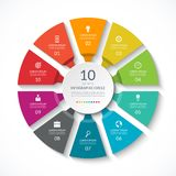 Infographic circle. Process chart. Vector diagram with 10 options. Can be used for graph, presentation, report, step options, web design Stock Photos