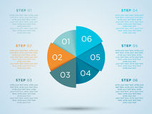 Infographic Circle With Steps In Segments 1 to 6. Infographic circle pie chart with numbers for steps 1 to 6 in 3d segments on a back drop with editable Stock Images