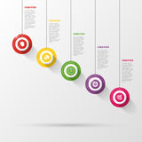 Infographic with circles on the grey background. Vector Stock Photo